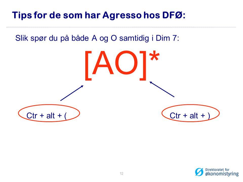 Tips for de som har Agresso hos DFØ: Slik spør du på både A og O samtidig i Dim 7: [AO]* Ctr + alt + ( Ctr + alt + ) 12