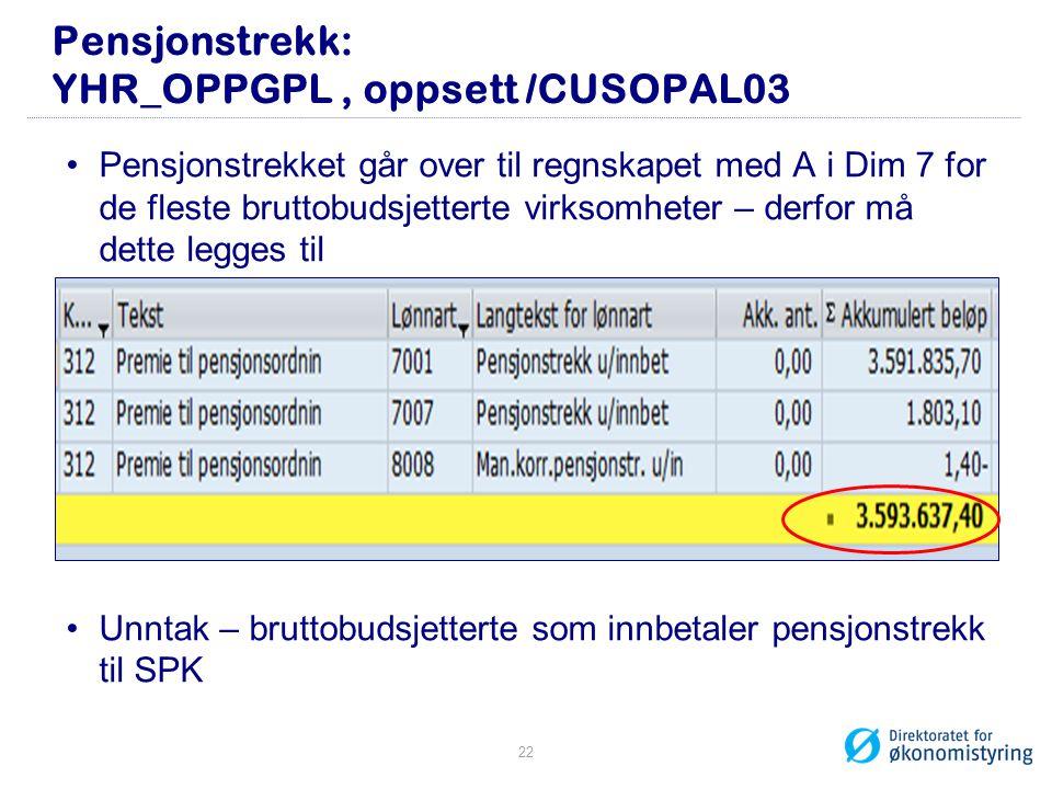 Pensjonstrekk: YHR_OPPGPL, oppsett /CUSOPAL03 •Pensjonstrekket går over til regnskapet med A i Dim 7 for de fleste bruttobudsjetterte virksomheter – d