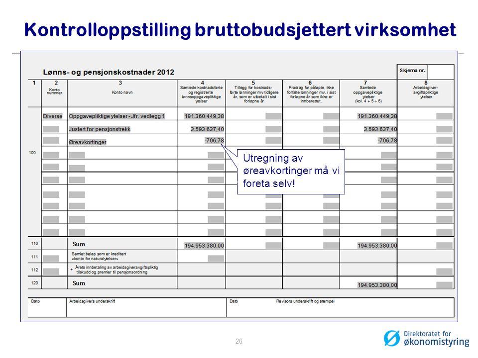 Kontrolloppstilling bruttobudsjettert virksomhet Utregning av børeavkortinger må vi ffforeta selv! 26