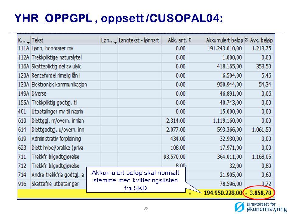 YHR_OPPGPL, oppsett /CUSOPAL04: Akkumulert beløp skal normalt stemme med kvitteringslisten fra SKD 28