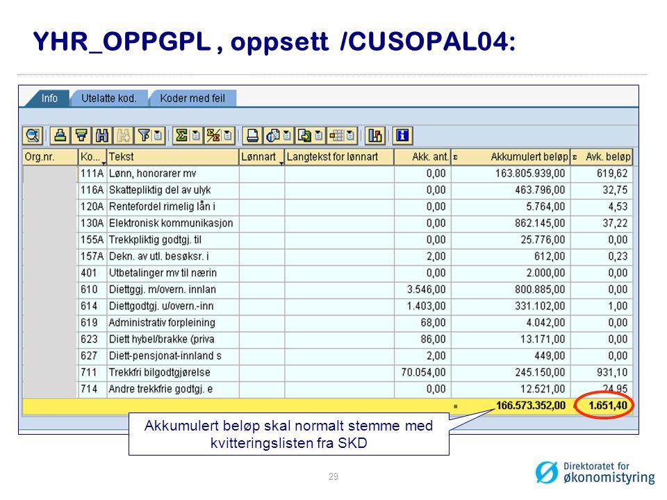 YHR_OPPGPL, oppsett /CUSOPAL04: Akkumulert beløp skal normalt stemme med kvitteringslisten fra SKD 29