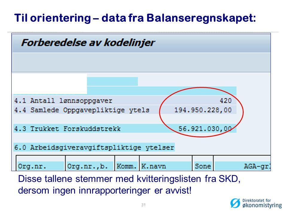 Til orientering – data fra Balanseregnskapet: Disse tallene stemmer med kvitteringslisten fra SKD, dersom ingen innrapporteringer er avvist! 31