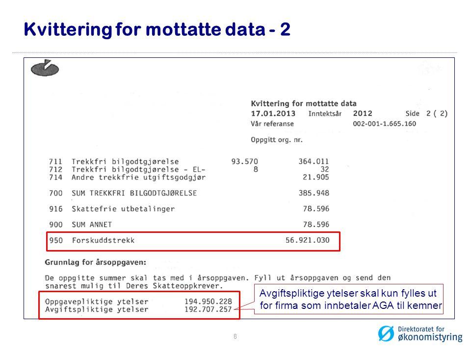 Kvittering for mottatte data - 2 Avgiftspliktige ytelser skal kun fylles ut bfor firma som innbetaler AGA til kemner 8