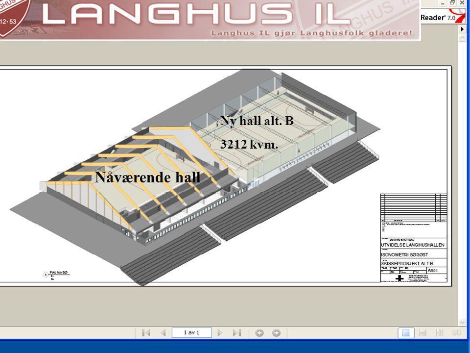 Nåværende hall Ny hall alt. B 3212 kvm.