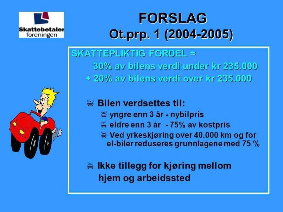 FORSLAG Ot.prp. 1 (2004-2005) FORSLAG Ot.prp. 1 (2004-2005) SKATTEPLIKTIG FORDEL = 30% av bilens verdi under kr 235.000 30% av bilens verdi under kr 2