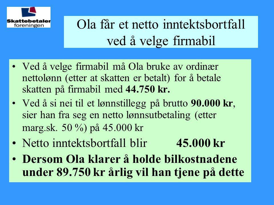 Ola får et netto inntektsbortfall ved å velge firmabil •Ved å velge firmabil må Ola bruke av ordinær nettolønn (etter at skatten er betalt) for å beta