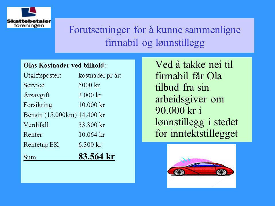 Forutsetninger for å kunne sammenligne firmabil og lønnstillegg Olas Kostnader ved bilhold: Utgiftsposter:kostnader pr år: Service5000 kr Årsavgift3.0