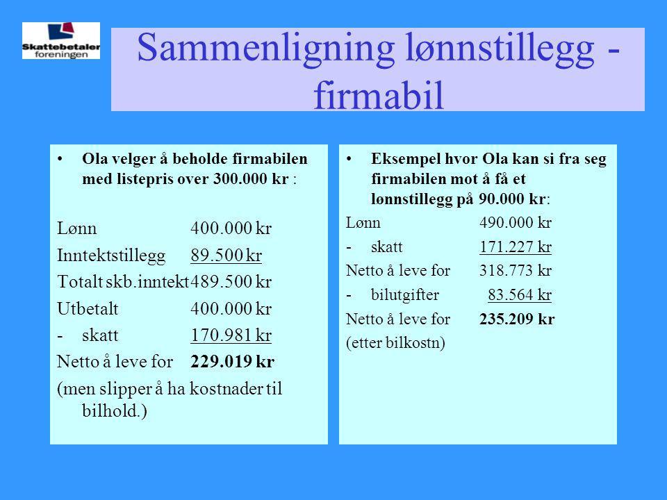 Sammenligning lønnstillegg - firmabil •Ola velger å beholde firmabilen med listepris over 300.000 kr : Lønn400.000 kr Inntektstillegg89.500 kr Totalt