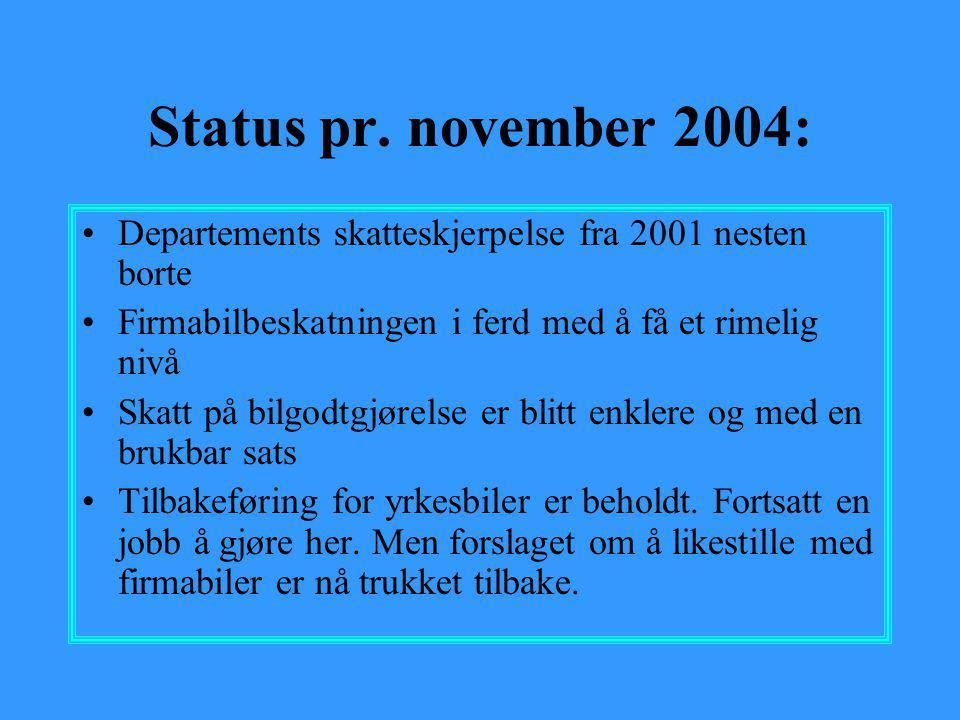 Status pr. november 2004: •Departements skatteskjerpelse fra 2001 nesten borte •Firmabilbeskatningen i ferd med å få et rimelig nivå •Skatt på bilgodt