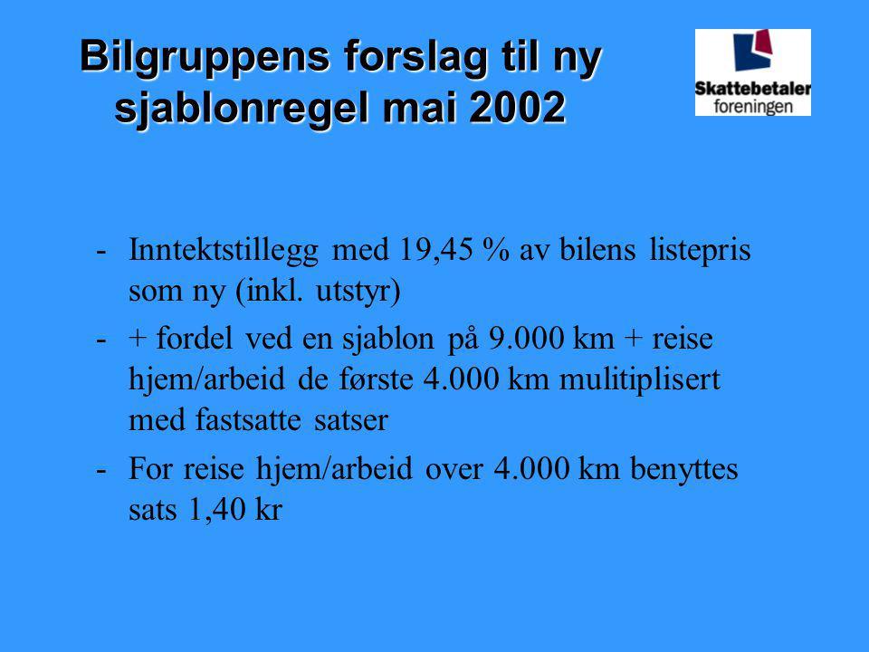 Gruppens forslag til satser: -Bilens listepris som ny Under 200.000 kr1,40 kr pr km 200.000-299.999 kr1,60 kr pr km 300.000-399.999 kr1,80 kr pr km 400.000-499.999 kr2,00 kr pr km Over 500.000 kr2,20 kr pr km