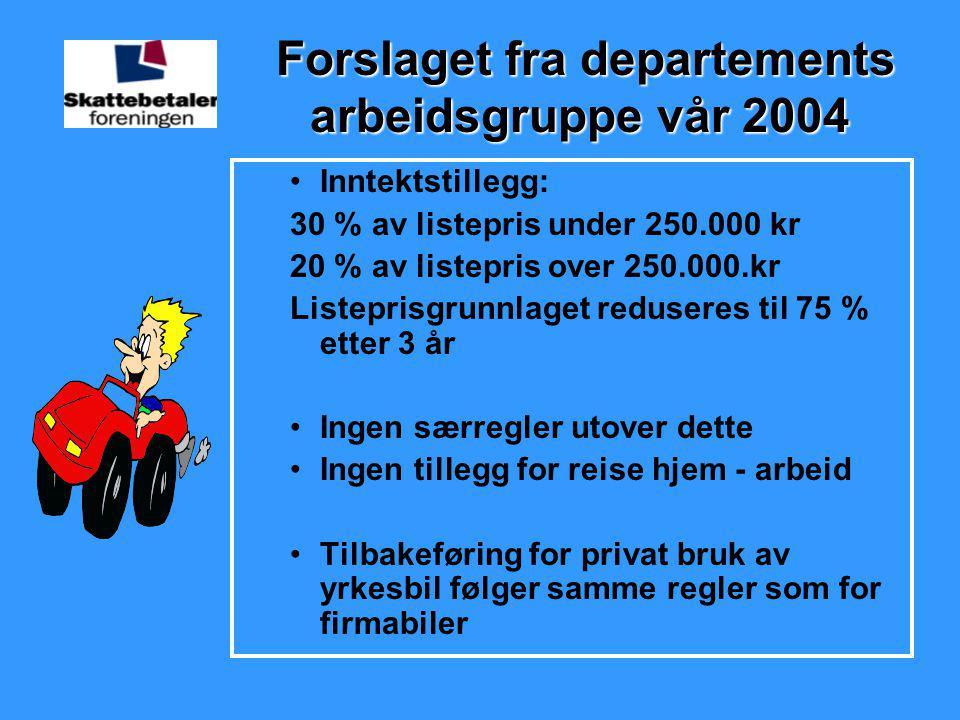 Forslaget fra departements arbeidsgruppe vår 2004 Forslaget fra departements arbeidsgruppe vår 2004 •Inntektstillegg: 30 % av listepris under 250.000