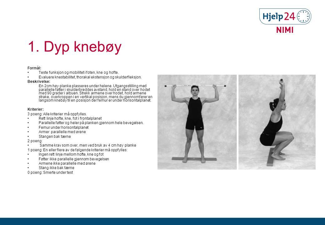 1.Dyp knebøy Formål: •Teste funksjon og mobilitet i foten, kne og hofte.