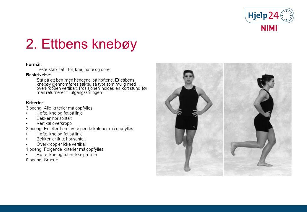 2.Ettbens knebøy Formål: Teste stabilitet i fot, kne, hofte og core.