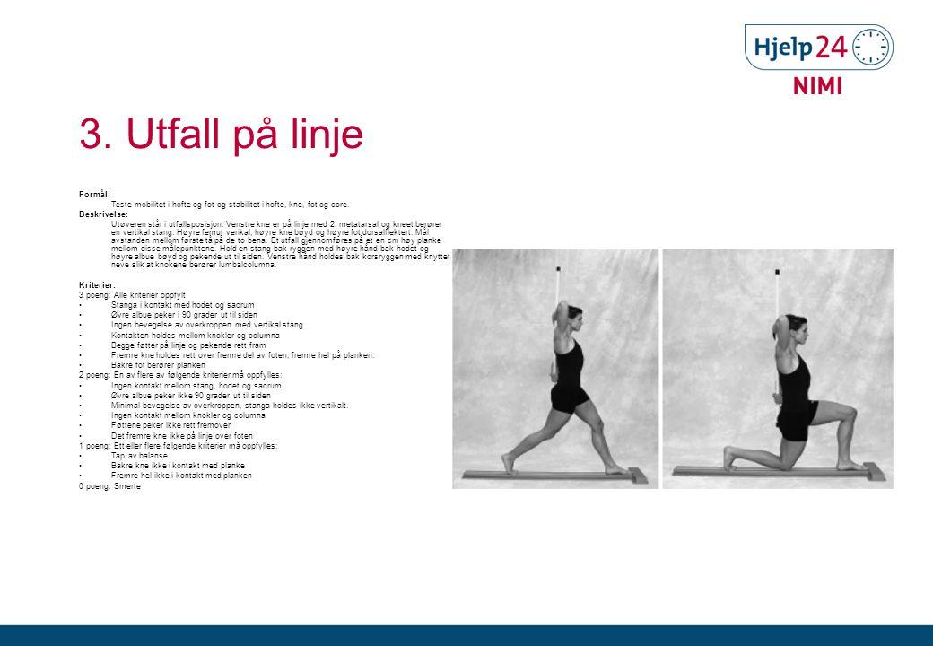 3.Utfall på linje Formål: Teste mobilitet i hofte og fot og stabilitet i hofte, kne, fot og core.