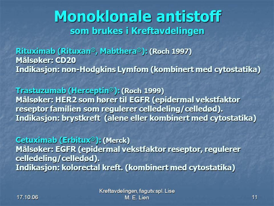 17.10.06 Kreftavdelingen, fagutv.spl. Lise M. E. Lien11 Monoklonale antistoff som brukes i Kreftavdelingen Rituximab (Rituxan ®, Mabthera ® ): (Roch 1