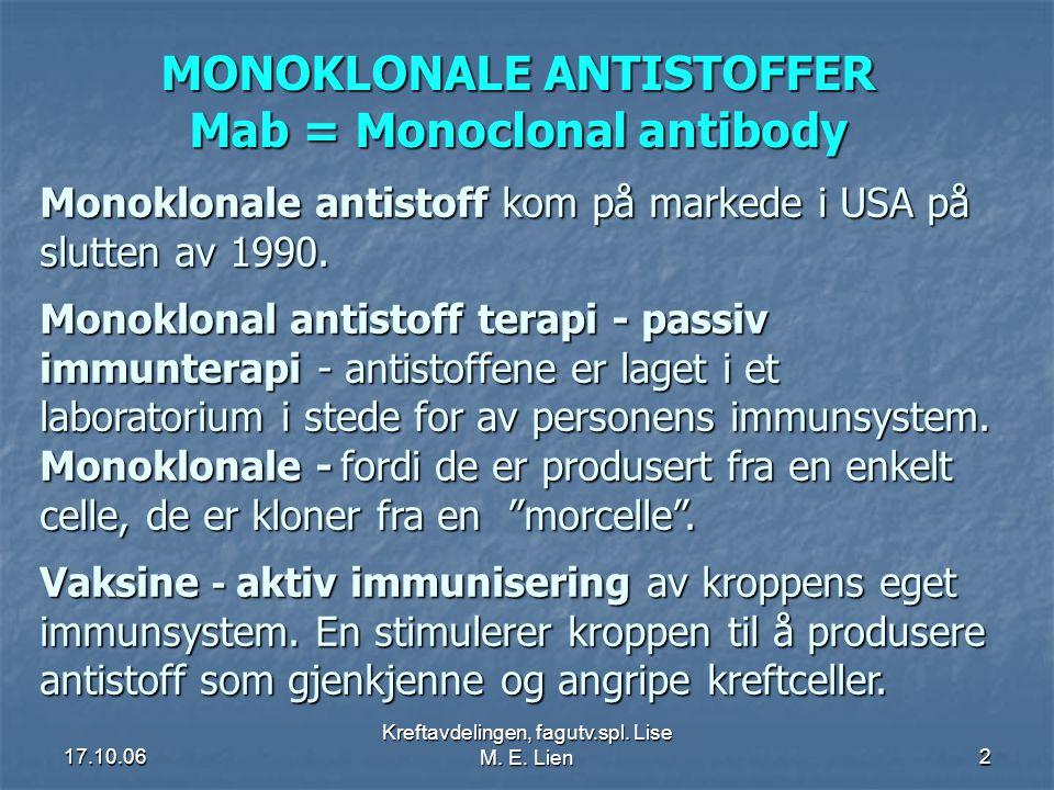 17.10.06 Kreftavdelingen, fagutv.spl. Lise M. E. Lien2 MONOKLONALE ANTISTOFFER Mab = Monoclonal antibody Monoklonale antistoff kom på markede i USA på