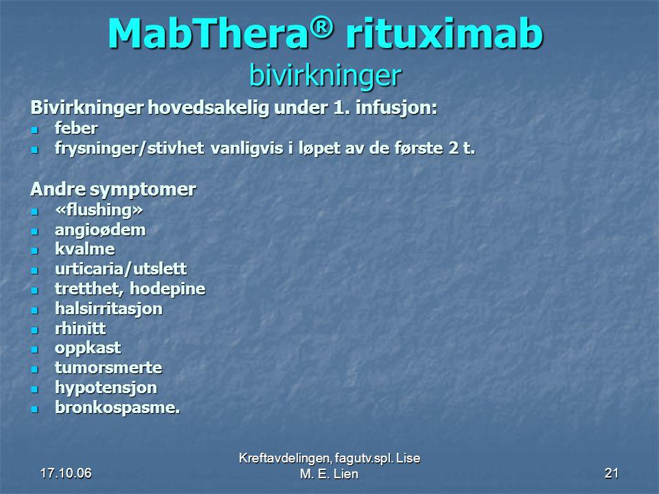 17.10.06 Kreftavdelingen, fagutv.spl. Lise M. E. Lien21 MabThera ® rituximab bivirkninger Bivirkninger hovedsakelig under 1. infusjon:  feber  frysn