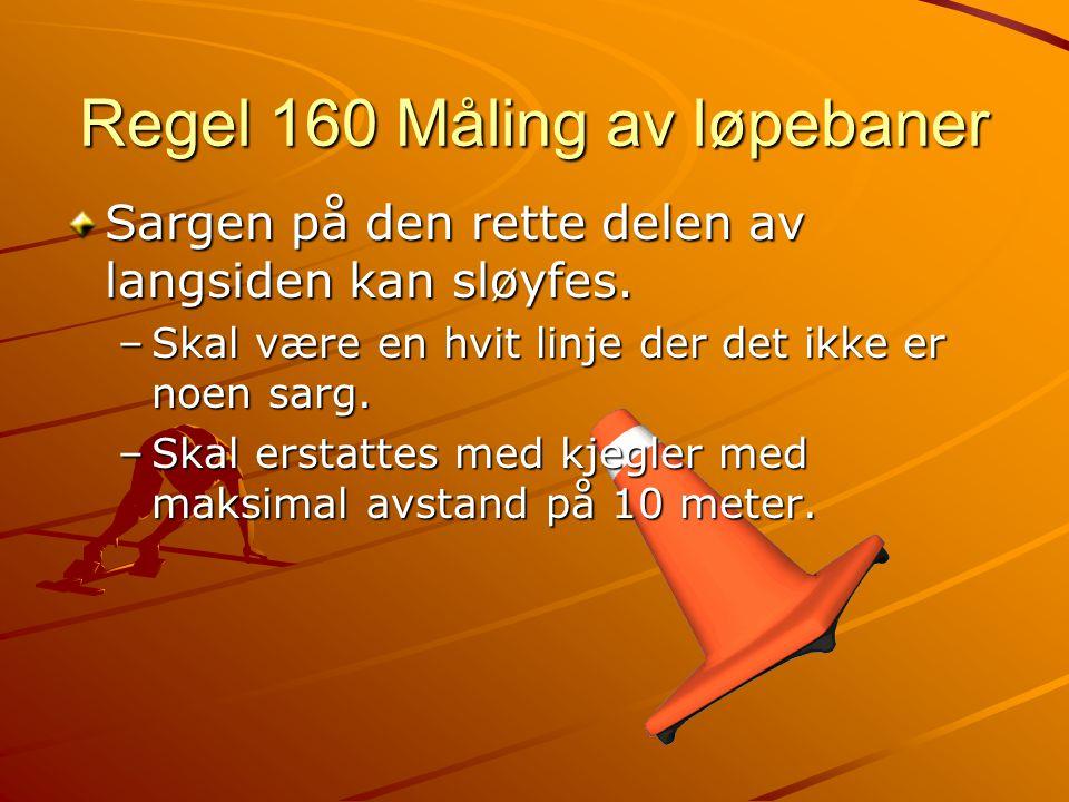 Regel 160 Måling av løpebaner Sargen på den rette delen av langsiden kan sløyfes.