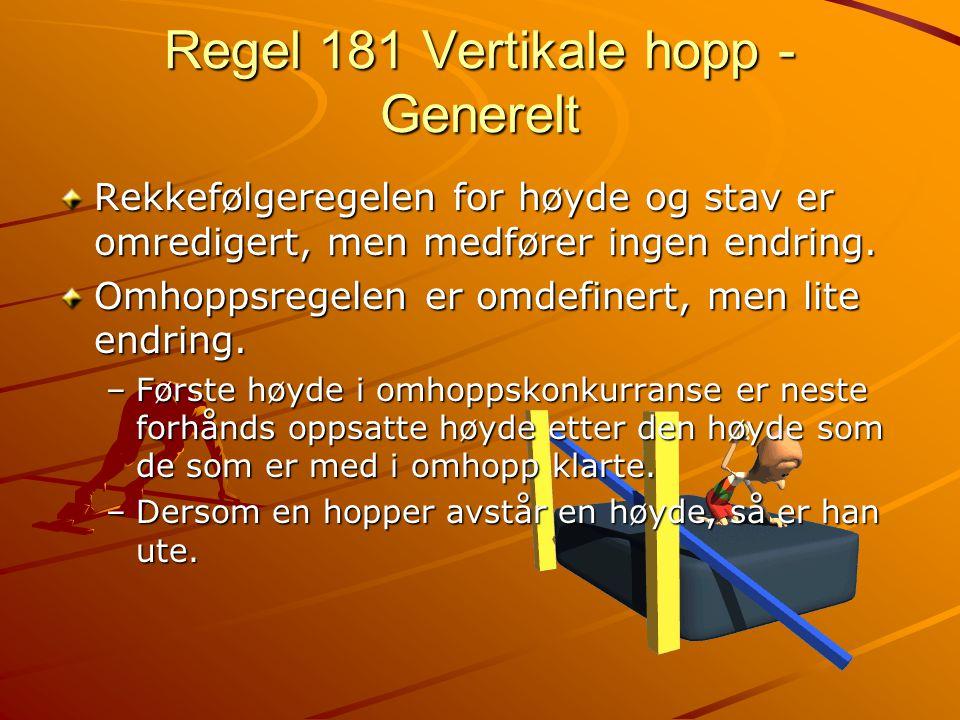Regel 181 Vertikale hopp - Generelt Rekkefølgeregelen for høyde og stav er omredigert, men medfører ingen endring. Omhoppsregelen er omdefinert, men l