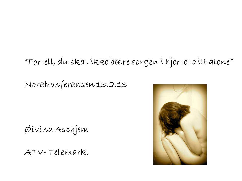 """""""Fortell, du skal ikke bære sorgen i hjertet ditt alene"""" Norakonferansen 13.2.13 Øivind Aschjem ATV- Telemark."""