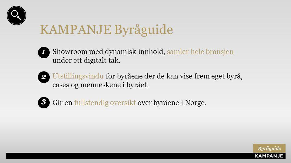 KAMPANJE Byråguide Showroom med dynamisk innhold, samler hele bransjen under ett digitalt tak. 1 3 Gir en fullstendig oversikt over byråene i Norge. 2