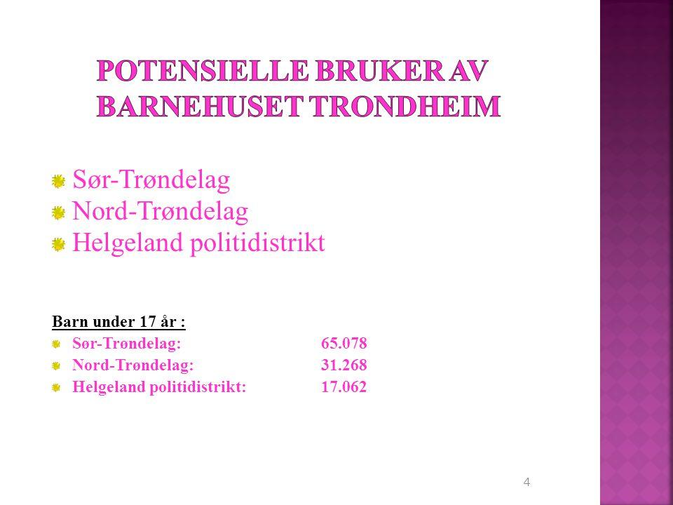 4 Sør-Trøndelag Nord-Trøndelag Helgeland politidistrikt Barn under 17 år : Sør-Trøndelag: 65.078 Nord-Trøndelag:31.268 Helgeland politidistrikt:17.062