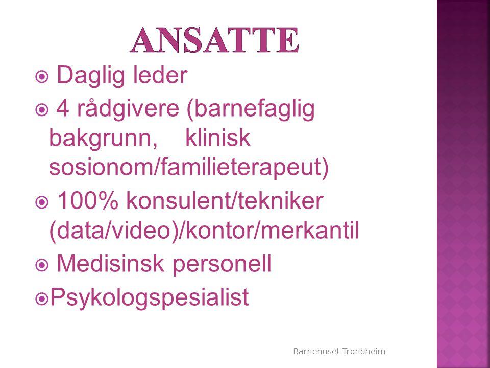 Barnehuset Trondheim  Daglig leder  4 rådgivere (barnefaglig bakgrunn, klinisk sosionom/familieterapeut)  100% konsulent/tekniker (data/video)/kont