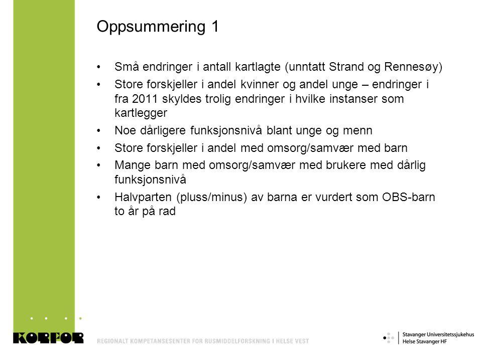 Oppsummering 1 •Små endringer i antall kartlagte (unntatt Strand og Rennesøy) •Store forskjeller i andel kvinner og andel unge – endringer i fra 2011