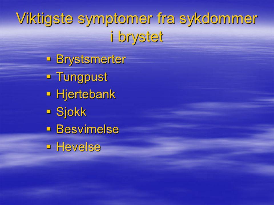 Viktigste symptomer fra sykdommer i brystet  Brystsmerter  Tungpust  Hjertebank  Sjokk  Besvimelse  Hevelse