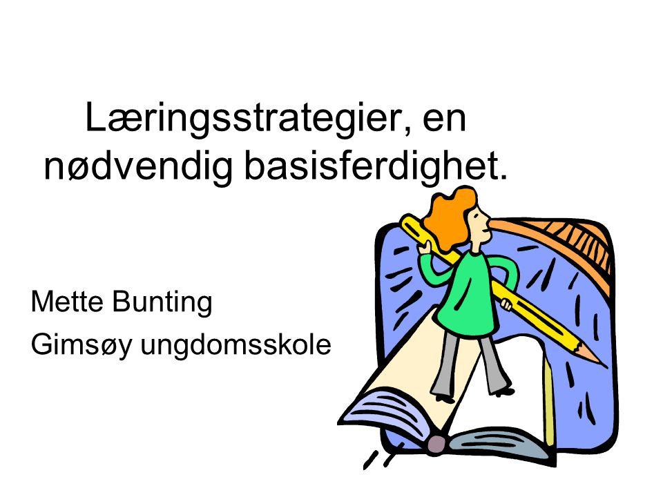 Læringsstrategier, en nødvendig basisferdighet. Mette Bunting Gimsøy ungdomsskole
