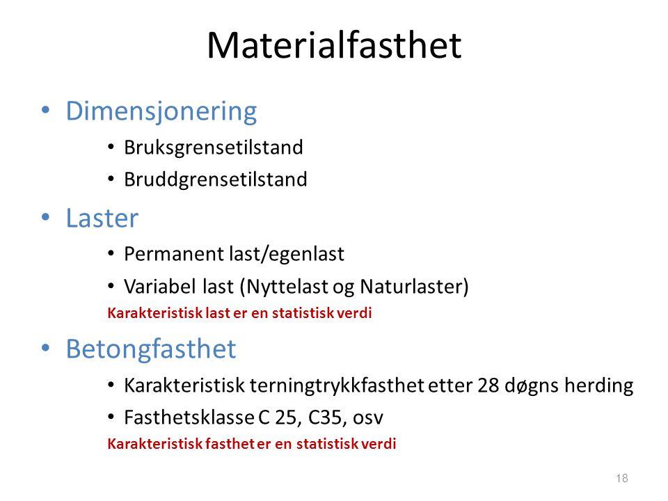 Materialfasthet • Dimensjonering • Bruksgrensetilstand • Bruddgrensetilstand • Laster • Permanent last/egenlast • Variabel last (Nyttelast og Naturlas