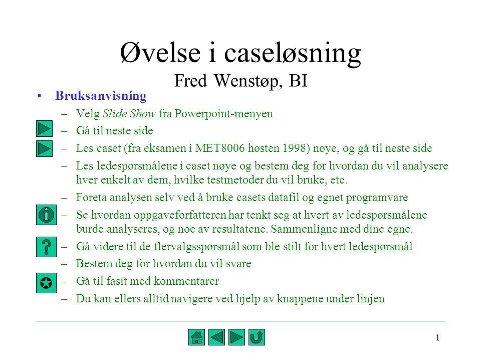 1 Øvelse i caseløsning Fred Wenstøp, BI •Bruksanvisning –Velg Slide Show fra Powerpoint-menyen –Gå til neste side –Les caset (fra eksamen i MET8006 hø