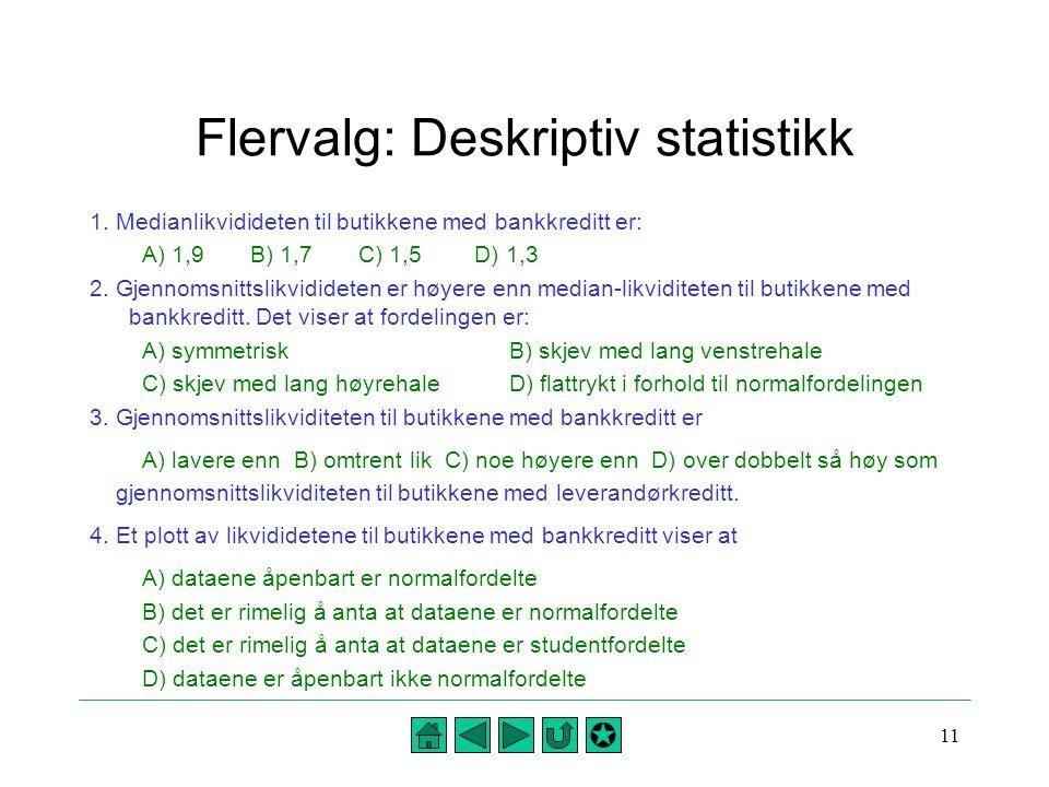 11 Flervalg: Deskriptiv statistikk 1. Medianlikvidideten til butikkene med bankkreditt er: A) 1,9 B) 1,7 C) 1,5 D) 1,3 2. Gjennomsnittslikvidideten er