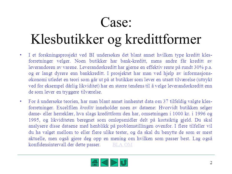 2 Case: Klesbutikker og kredittformer •I et forskningsprosjekt ved BI undersøkes det blant annet hvilken type kreditt kles- forretninger velger. Noen