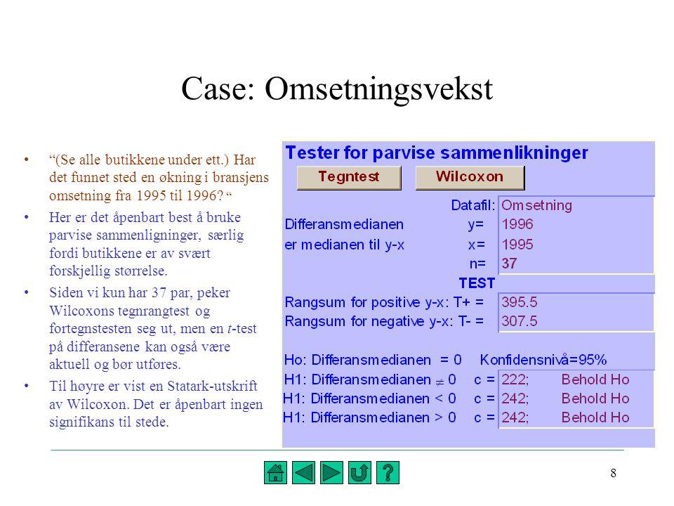 19 Flervalg: Prognoser for omsetning (2 av 2) 19.Nullhypotesen  = 1 i en lineær regresjonsanalyse av omsetning i 1995 (x) mot omsetning i 1996 (y) betyr at A)det ikke er lineær sammenheng mellom x og y B)omsetningen i en tilfeldig valgt butikk forventes å være lik i 1995 og 1996 C)omsetningen i en tilfeldig valgt butikk forventes å stige med 1000 kr.