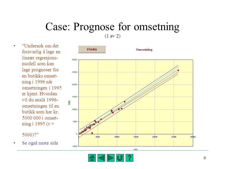 10 Case: Prognose for omsetning (2 av 2)