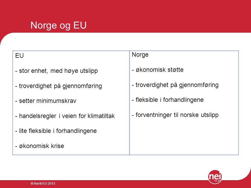 © Nei til EU 2013 Norge og EU EU - stor enhet, med høye utslipp - troverdighet på gjennomføring - setter minimumskrav - handelsregler i veien for klim