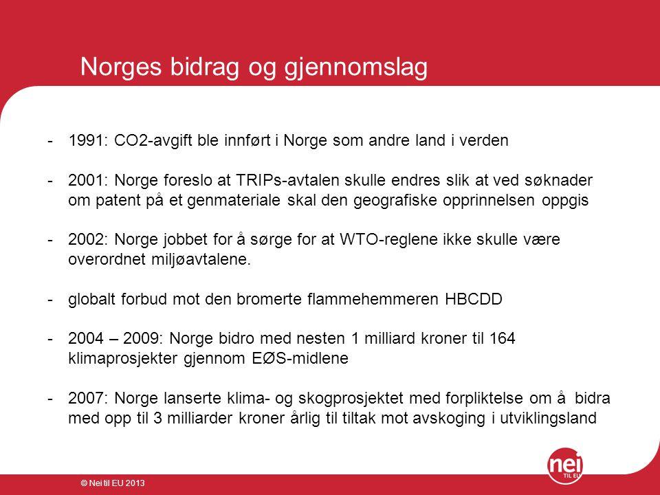 © Nei til EU 2013 Norges bidrag og gjennomslag -1991: CO2-avgift ble innført i Norge som andre land i verden -2001: Norge foreslo at TRIPs-avtalen sku