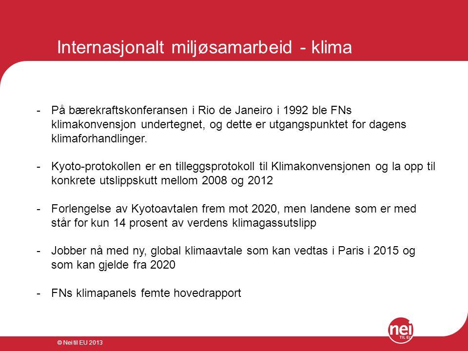 © Nei til EU 2013 Norges posisjoner i klimaforhandlingene -Folkerettslig, bindende klimaavtale under FNs klimakonvensjon -Togradersmålet -Klimarettferdighet Tiltak: -Bindende utslippsforpliktelser -Kvotesystem -Klimafond -Redusere avskoging -Overvåkning av arktis -Fangst og lagring -Inkludere internasjonal skipsfart