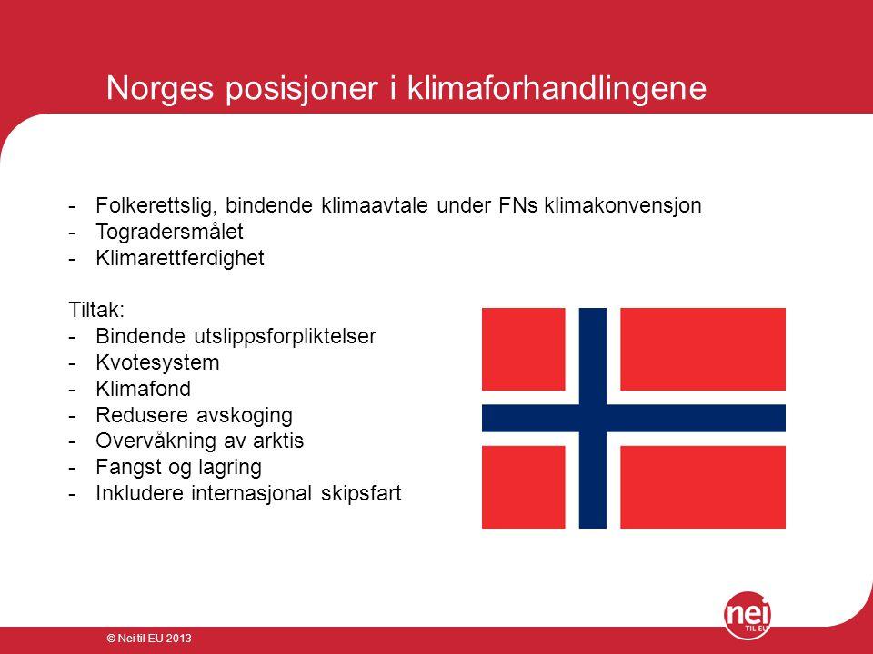 © Nei til EU 2013 Norges bidrag og gjennomslag -1991: CO2-avgift ble innført i Norge som andre land i verden -2001: Norge foreslo at TRIPs-avtalen skulle endres slik at ved søknader om patent på et genmateriale skal den geografiske opprinnelsen oppgis -2002: Norge jobbet for å sørge for at WTO-reglene ikke skulle være overordnet miljøavtalene.