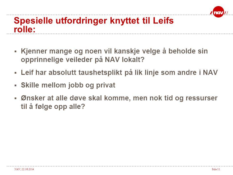 NAV, 22.06.2014Side 11 Spesielle utfordringer knyttet til Leifs rolle:  Kjenner mange og noen vil kanskje velge å beholde sin opprinnelige veileder på NAV lokalt.