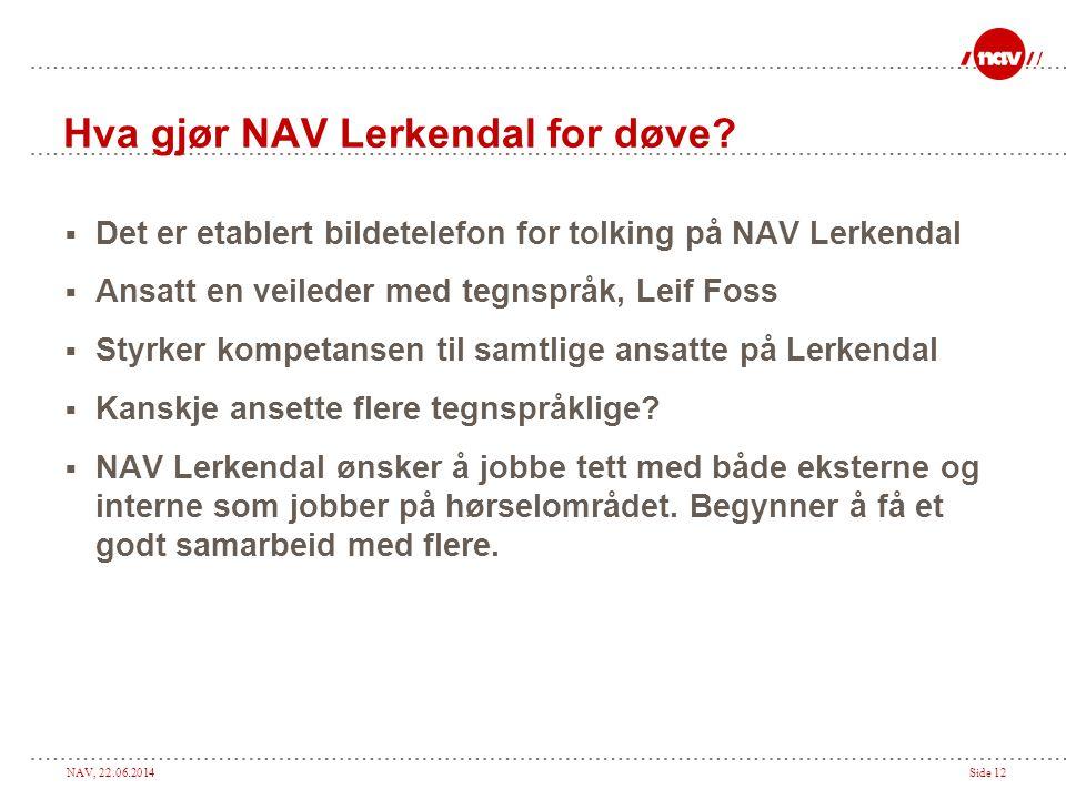 NAV, 22.06.2014Side 12 Hva gjør NAV Lerkendal for døve.