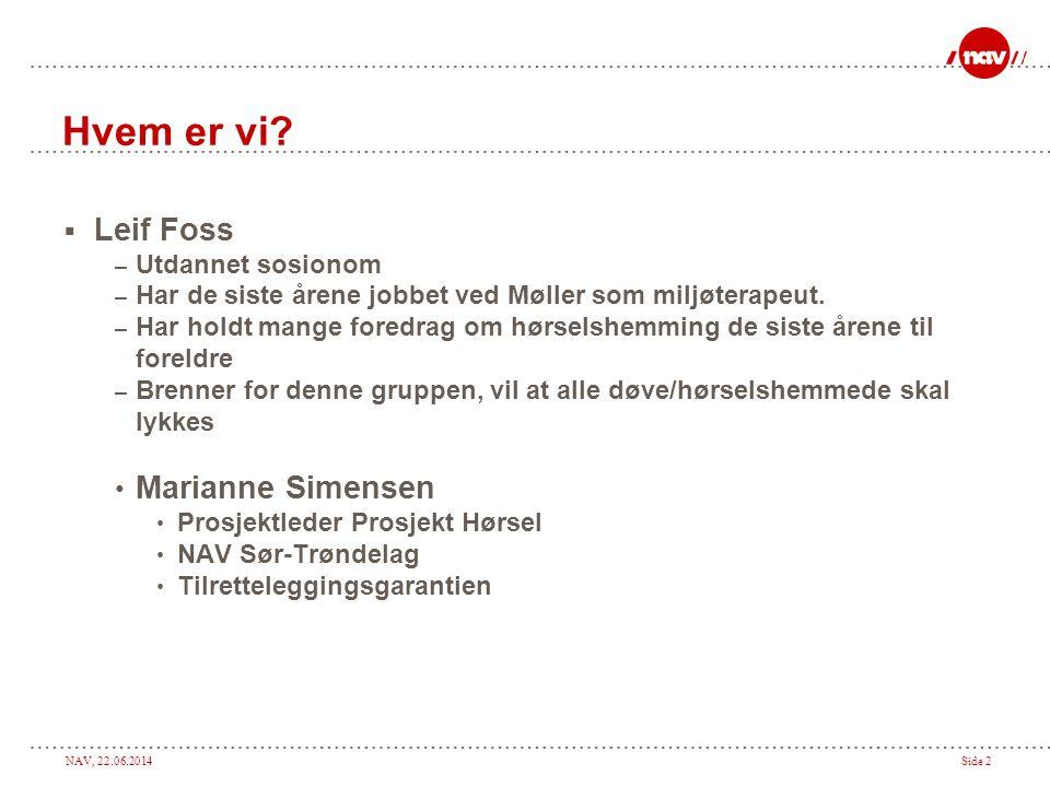 NAV, 22.06.2014Side 2 Hvem er vi?  Leif Foss – Utdannet sosionom – Har de siste årene jobbet ved Møller som miljøterapeut. – Har holdt mange foredrag