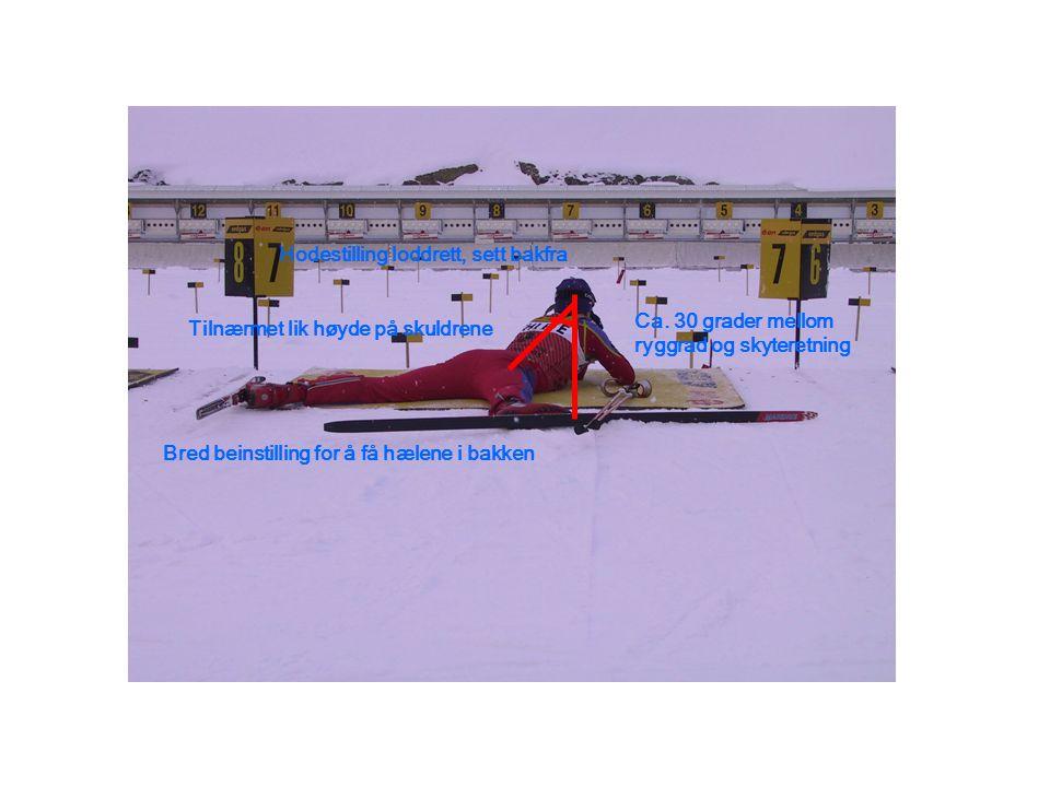 Hodestilling loddrett, sett bakfra Tilnærmet lik høyde på skuldrene Bred beinstilling for å få hælene i bakken Ca. 30 grader mellom ryggrad og skytere