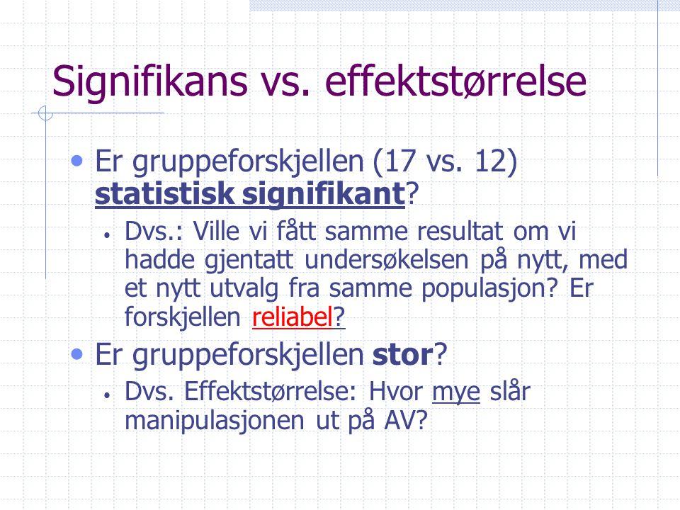 Signifikans vs.effektstørrelse • Er gruppeforskjellen (17 vs.