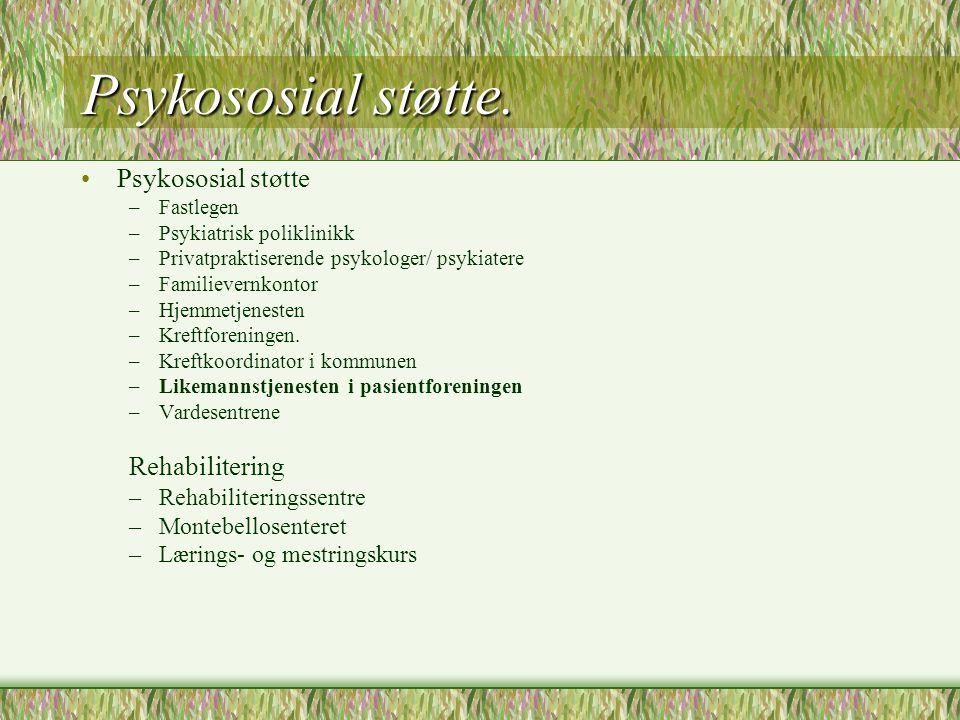 Psykososial støtte. •Psykososial støtte –Fastlegen –Psykiatrisk poliklinikk –Privatpraktiserende psykologer/ psykiatere –Familievernkontor –Hjemmetjen