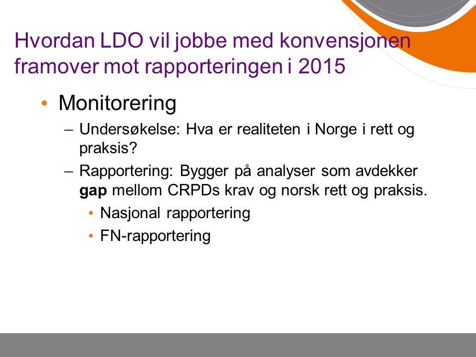 Hvordan LDO vil jobbe med konvensjonen framover mot rapporteringen i 2015 • Monitorering –Undersøkelse: Hva er realiteten i Norge i rett og praksis? –