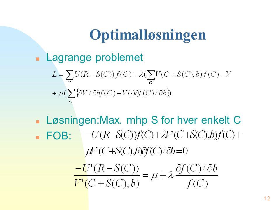 12 Optimalløsningen n Lagrange problemet n Løsningen:Max. mhp S for hver enkelt C n FOB: