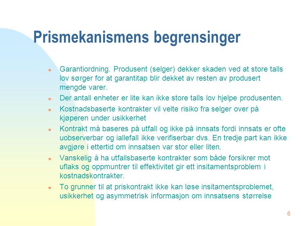 6 Prismekanismens begrensinger n Garantiordning.