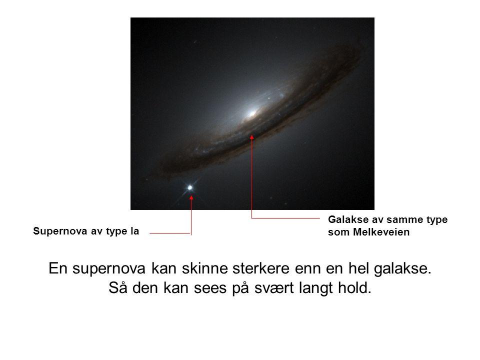 Supernova av type Ia Galakse av samme type som Melkeveien En supernova kan skinne sterkere enn en hel galakse. Så den kan sees på svært langt hold.
